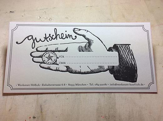 geschenkgutschein fuer letterpress und siebdruckkurs