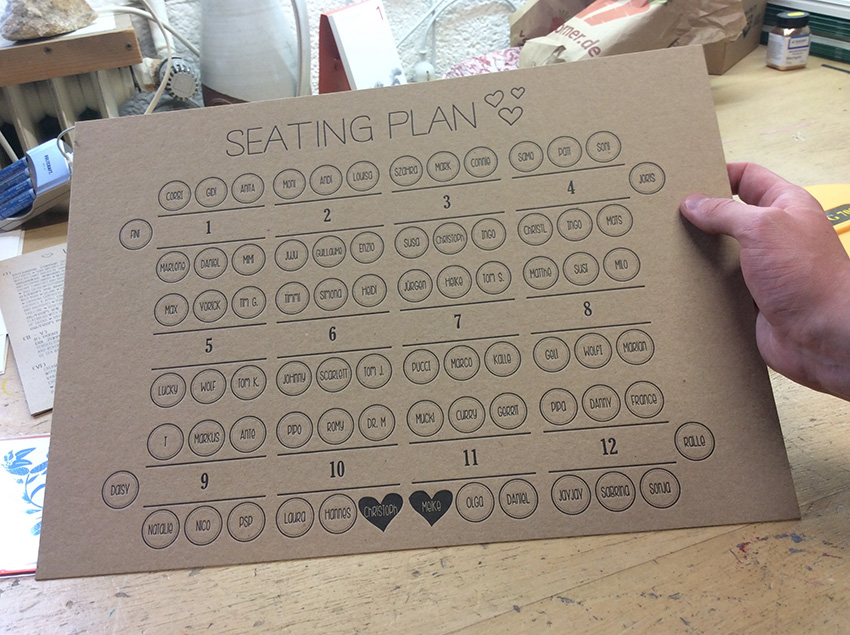 seatingplan for wedding letterpress