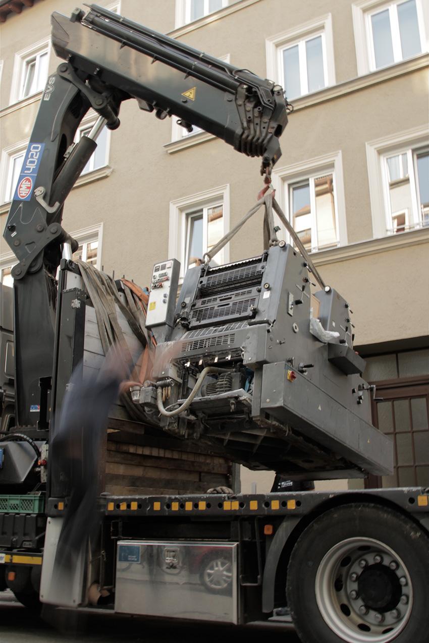 Neue Heidelberger Druckmaschine Werkstatt Hoeflich Muenchen